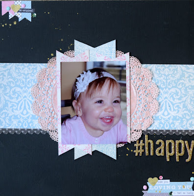 A layout of our little girl on her dedication day using products from American Craft, Carta Bella, Heidi Swapp, Crate Paper and Tim Holtz