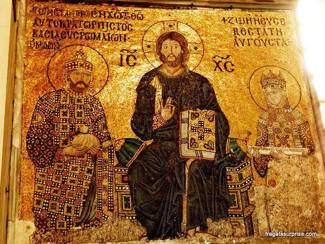 Mosaicos bizantinos na Basílica de Santa Sofia, em Istambul