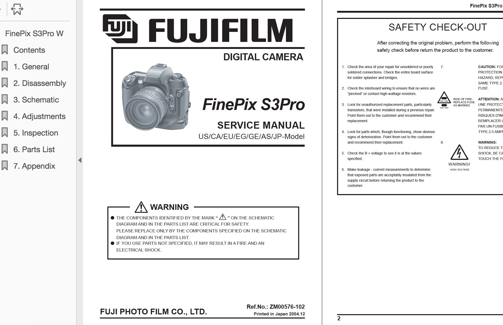 FUJIFILM FinePix S3 Pro Zoom Digital Camera Service Repair Manual