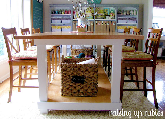 craft table homemade by Raising up Rubies via Funky Junk Interiors
