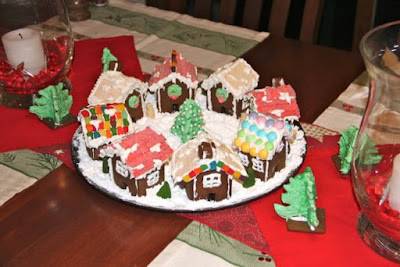 A Christmas village of gingerbread houses