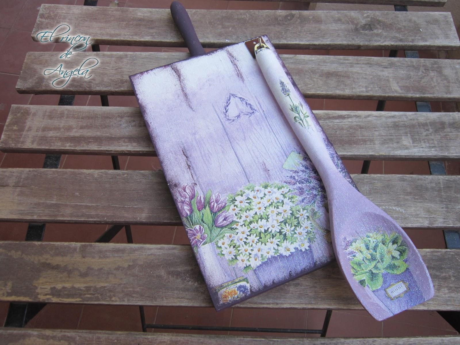 El rincon de angela como decorar una tabla y una cuchara - Decorar tabla madera ...