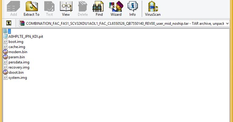 File Combination SCV32 Galaxy A8 SM-A800J AU KDDI Factory_SW