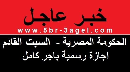 الحكومة المصرية - يوم السبت القادم 23 يوليو اجازة رسمية بأجر كامل للعاملين بالدولة