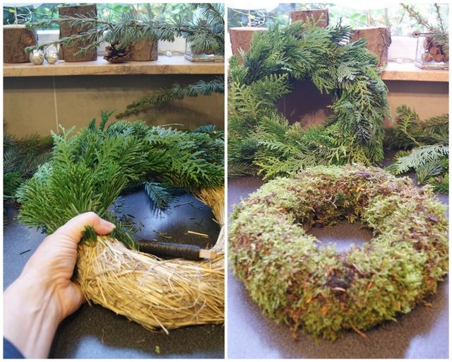DIY Strohrömer mit Tannengrün und Moos umwickeln