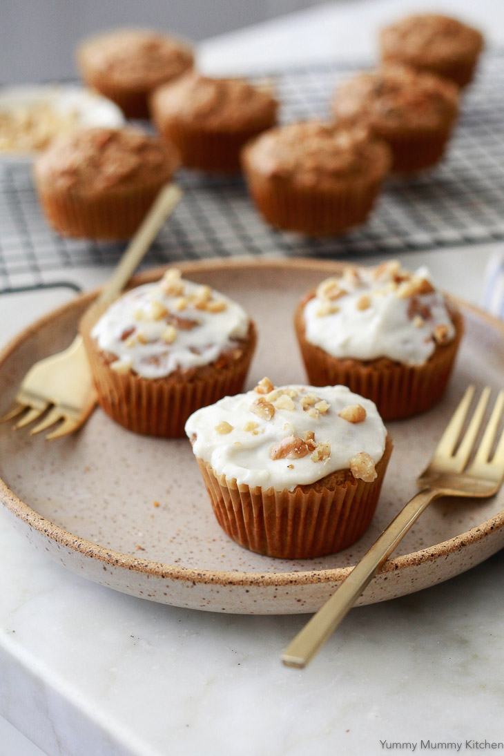 Carrot muffins made with oat flour. These vegan carrot muffins are dairy-free, oil-free, and gluten-free.