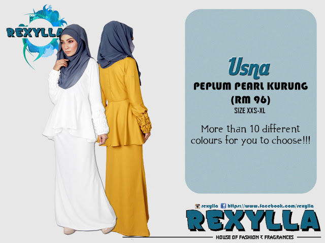 rexylla, peplum kurung, pearl kurung, ruffles sleeve, usna collection