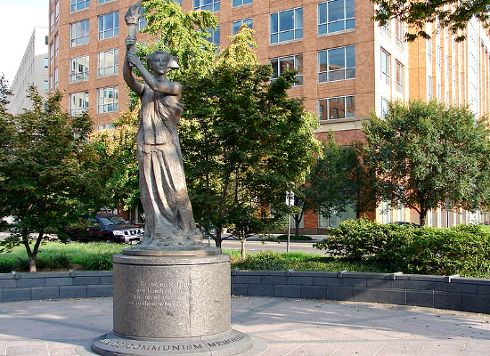 """Victims of Communism Memorial"" in Washington DC by Thomas Marsh (ca. 2007). A recreation of the statue ""Goddess of Democracy"" erected in Tianamen Square in 1989."