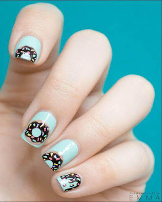 creative nail design with donuts