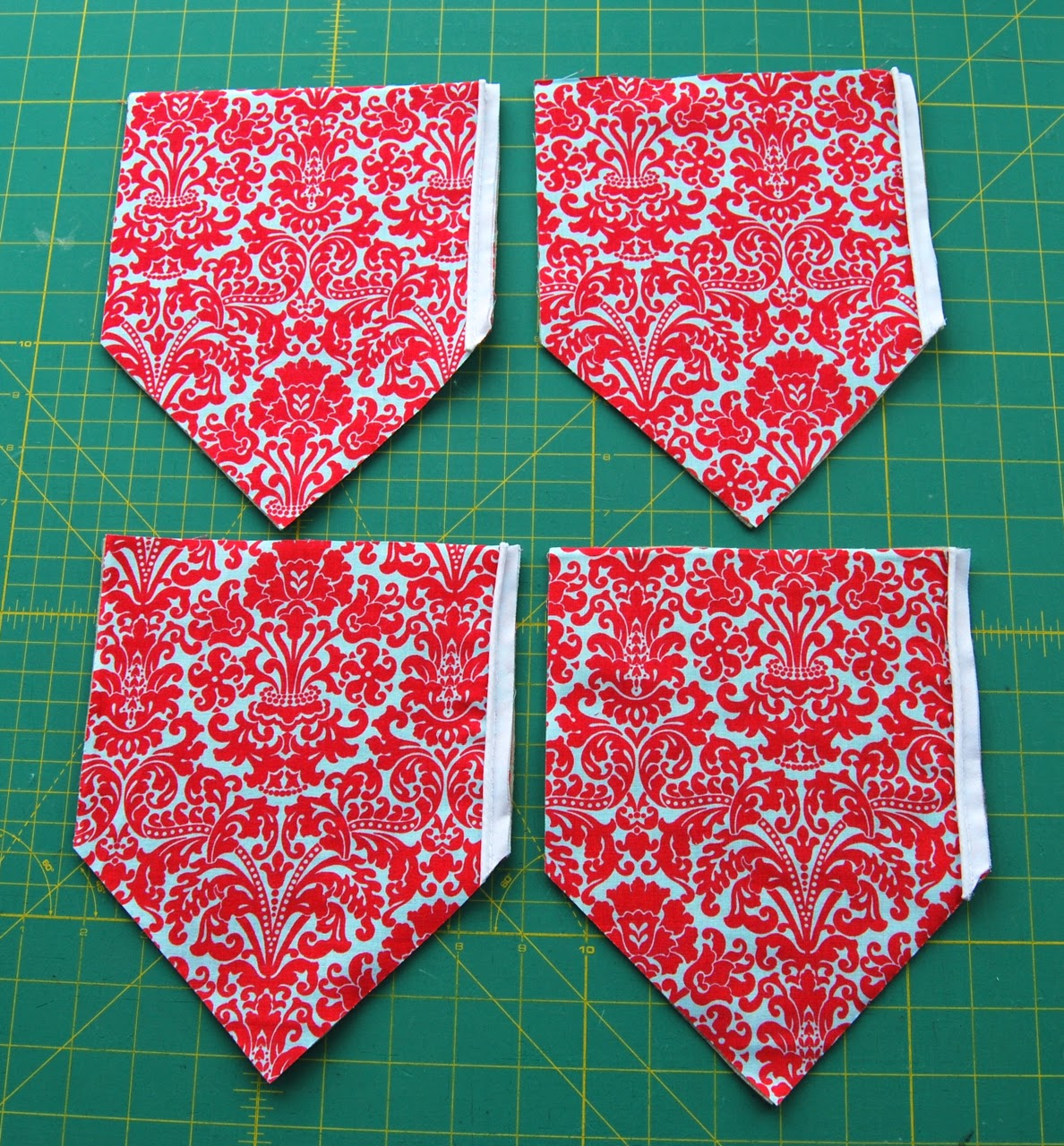 exterior pieces with piping sewn on