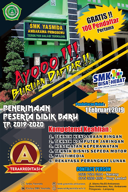 Desain Banner Sosialisasi PPDB SMK Yasmida Ambarawa Keren