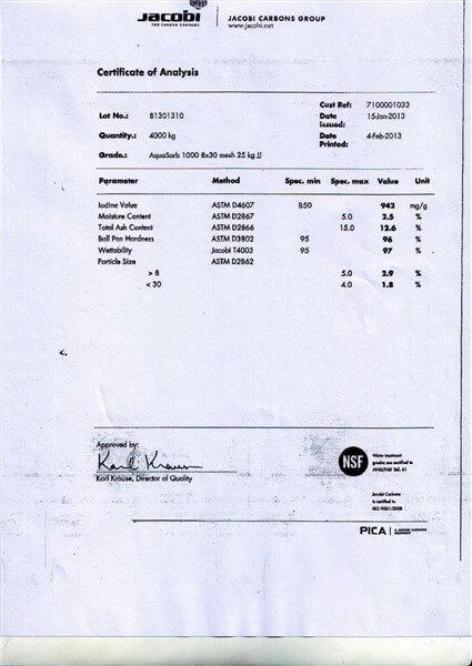 Certificate of Analysis (COA) Karbon Aktif Jacobi AquaSorb 1000