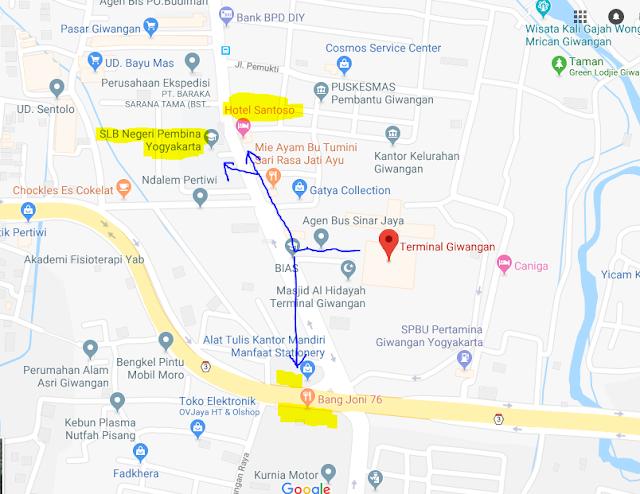 Titik Jemput Penumpang Ojek Online Gojek-Grab di Terminal Giwangan Yogyakarta