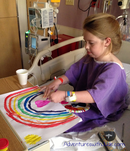 Celia painting in duPont hospital w/ paints from Child Life