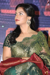 Neetu Chandra in Transparent Saree Jari work Blopuse choli At Vaigai Express Trailer Launch 6.jpg