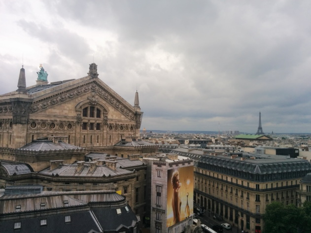 Paris city view from on top of Galeries Lafayette, a department store in Paris