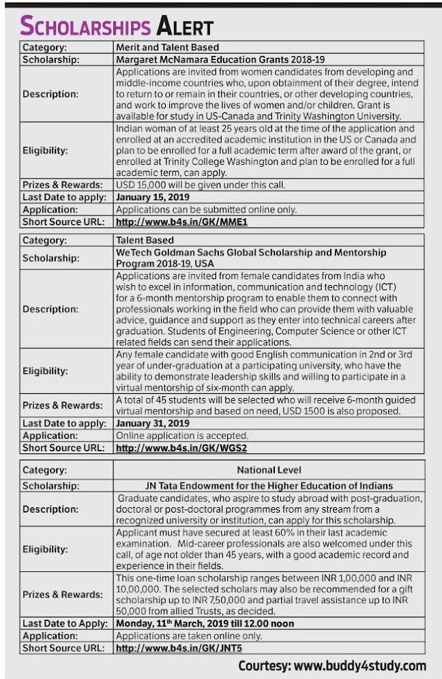 Scholarship Alert  2018-19 Apply Now