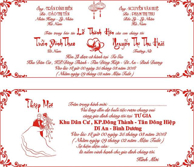 Thiệp cưới in 1 màu