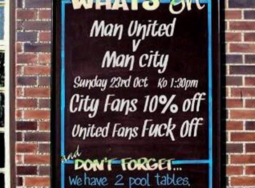 Pub shows how divisive the Manchester rivalry