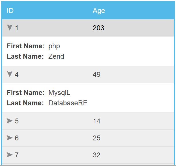 Source code aplikasi responsive html table using footable for Hide tr in table