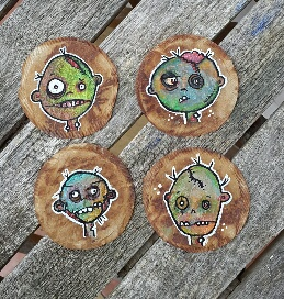 Whoopidooings: Carmen Wing Mixed Media Zombie Illustrations on Teabags