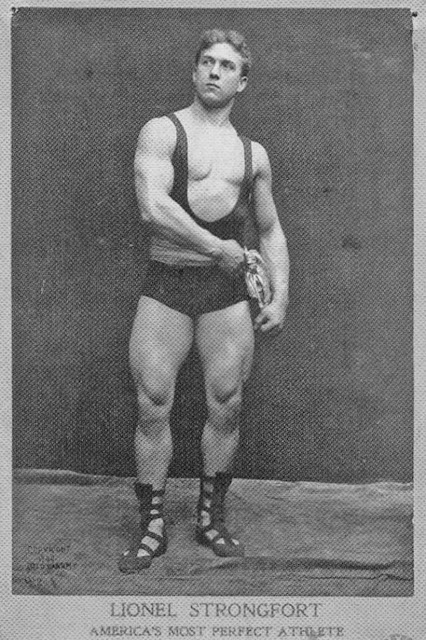 Lionel Strongfort. He began his famed stage career around 1897, becoming world renowned for his