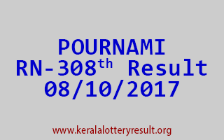 POURNAMI Lottery RN 308 Results 8-10-2017