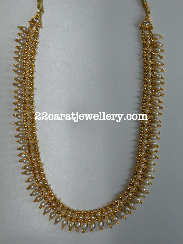 Fashion Pearl Long Chain One Gram Gold Jewellery Designs