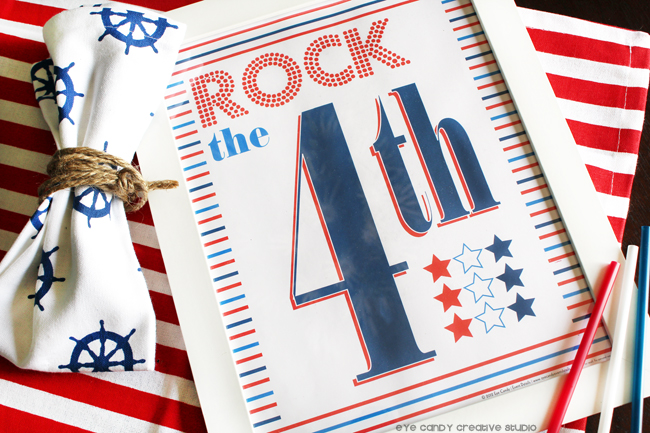 rock the 4th art print, 4th of july, stars & stripes, summer art, patriotic