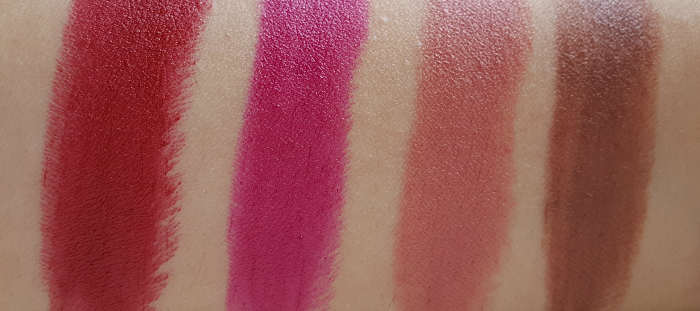 Swatches: L´Oréal Paris Color Riche Matte Lipstick 349 Paris Cherry - 463 Plum Tuxedo - 633 Moka Chic - 634 Greige Perfecto