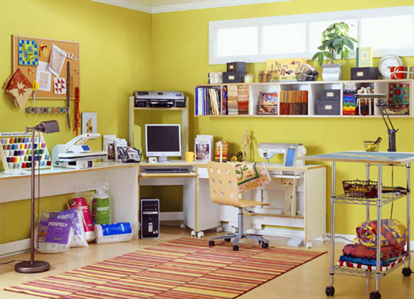 sewing room ideas with yellow wall colors