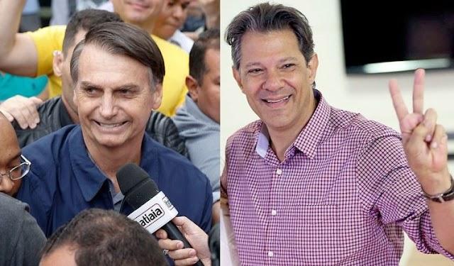Datafolha: Bolsonaro tem 59% e Haddad 41% dos votos válidos