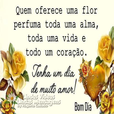 Quem oferece uma flor  perfuma toda uma alma,  toda uma vida e  todo um coração.  Tenha um dia de muito amor!  Bom Dia!