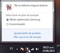 Clic en el icono de la batería para acceder a más opciones de energía