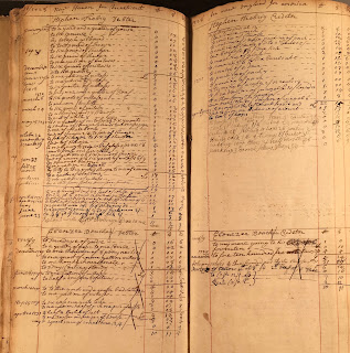Two-pae spread of Wheelock's account book