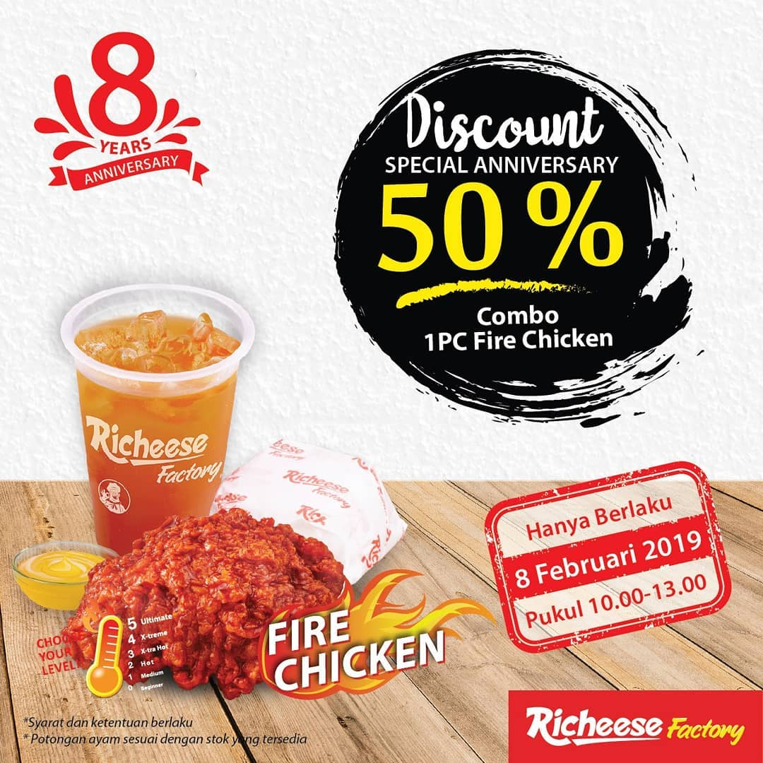 #RicheeseFactory - #Promo Diskon 50% Special Anniversary Combo 1 Pc Fire Chicken