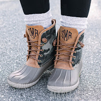 duck boots with camo design and duck boot socks