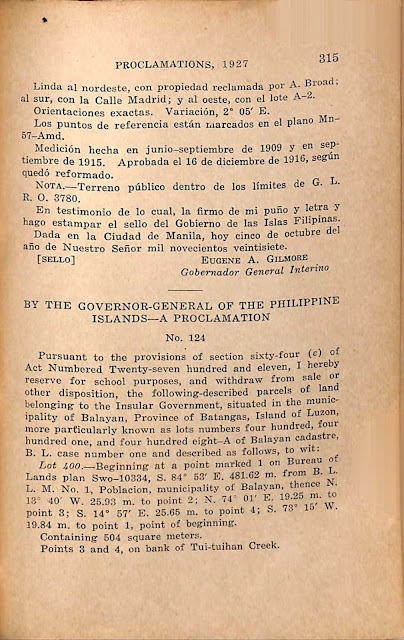 Proclamation No. 124 s. of 1927, English version.
