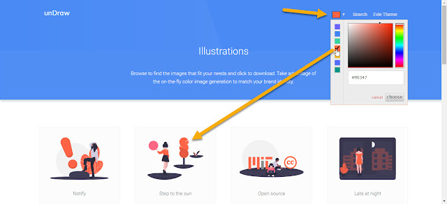 Color picker to change color of illustration to match your brand color