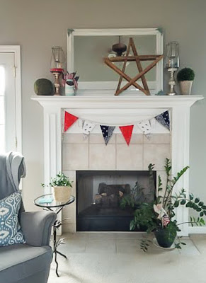 Decorate a mantle for July 4th by borrowing items from around your home! See how at DIY beautify