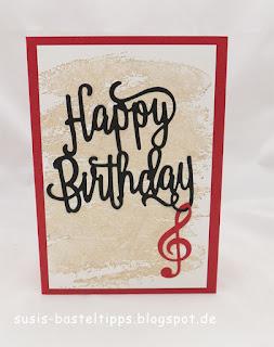 Geburtstagskarte mit happy birthday thinlit für big shot von stampin up und stanzen musikinstrumente note von demonstratorin in coburg