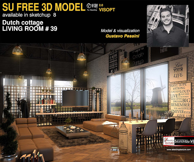 Stunning free Sketchup model Dutch Cottage Living room #39 - Vray ...