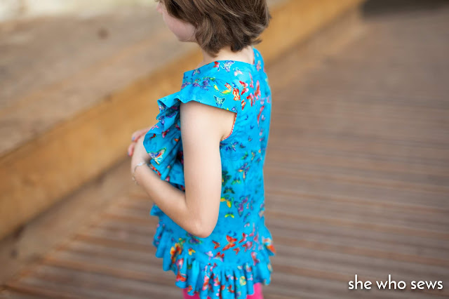 Ruffle butterfly top girls