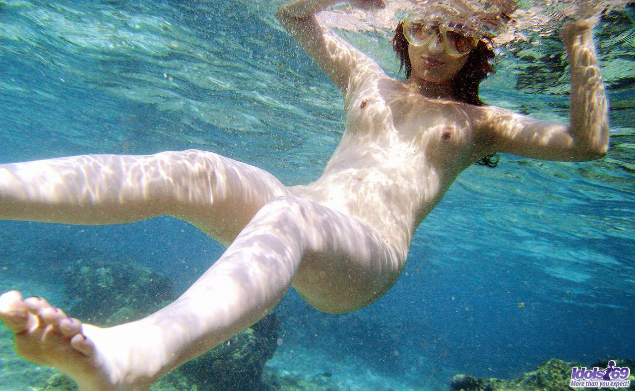 Fat woman swimming naked