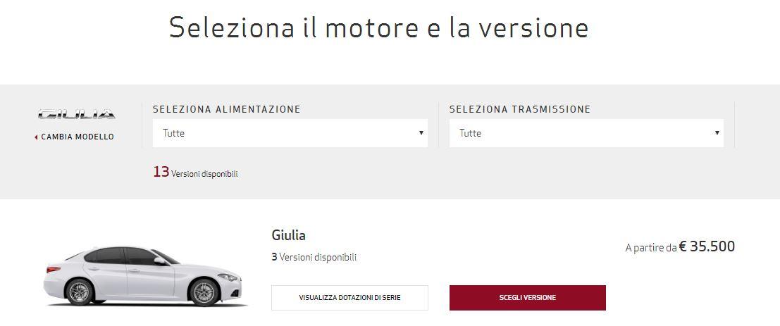 Configuratore Alfa Romeo Giulia 2016 - Configura la tua Giulia e richiedi il preventivo