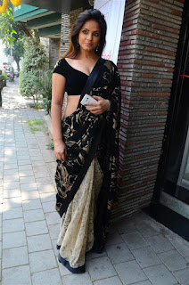 Neetu Chandra in Black Saree at Designer Sandhya Singh Store Launch Mumbai (2).jpg