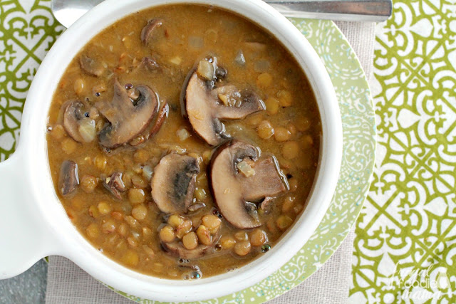 Packed full of fiber rich lentils & meaty mushrooms, this vegetarian and vegan friendly Creamy Mushroom & Lentil Soup is comforting and filling without the extra fat and calories.