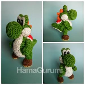 Patrón de ganchillo Amigurumi: Dinosaurio Yoshi the Mario - Hecho ... | 300x300