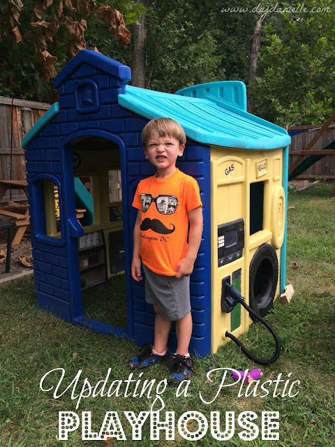 How to paint a plastic playhouse, add details, replace accessories, and give it new life.
