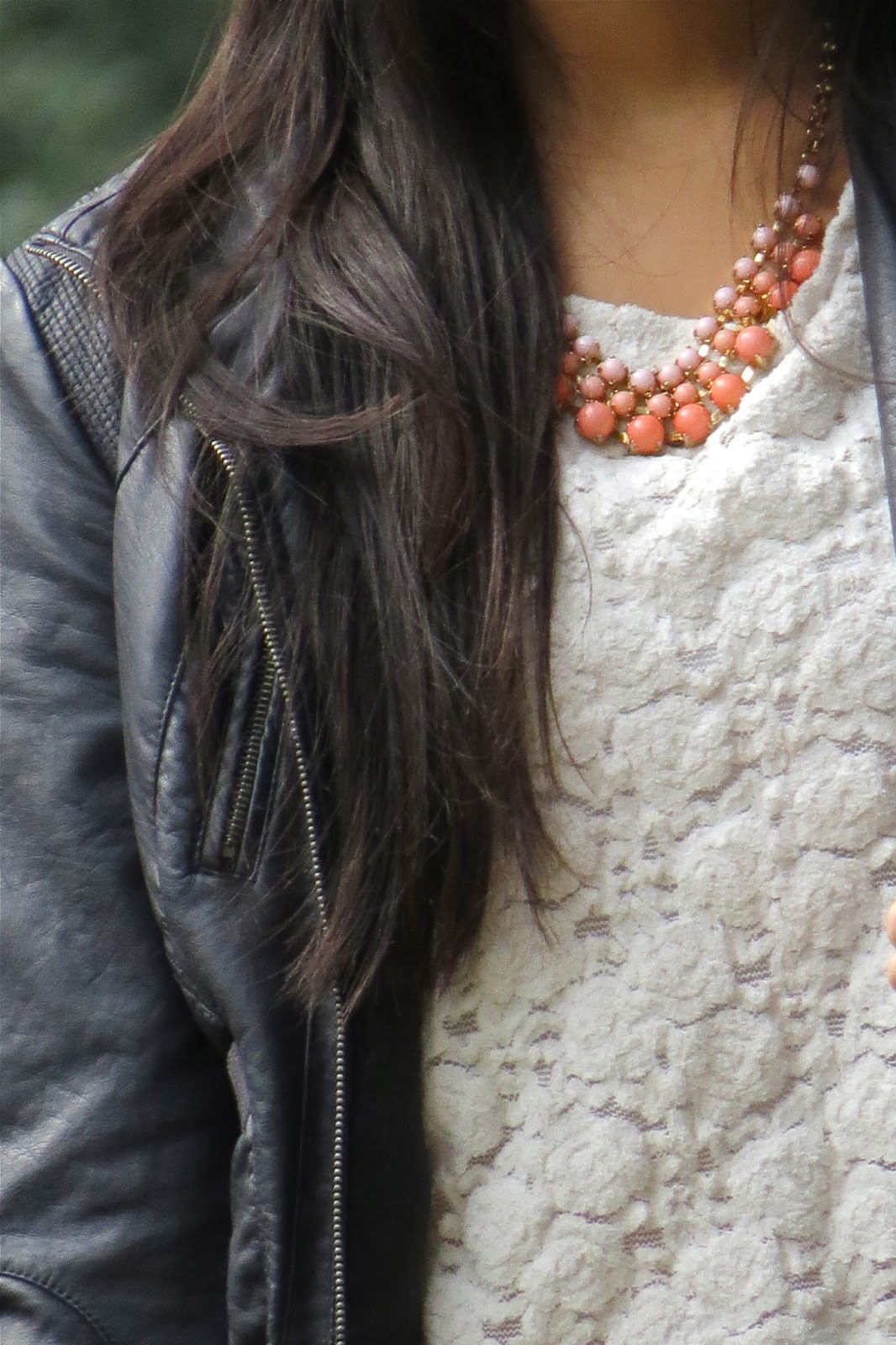 leather jacket and lace top